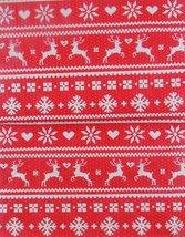 """Christmas Cheer Reindeer Fair Isle vinyl flannel back tablecloth 52"""" x 70"""" - $8.99"""