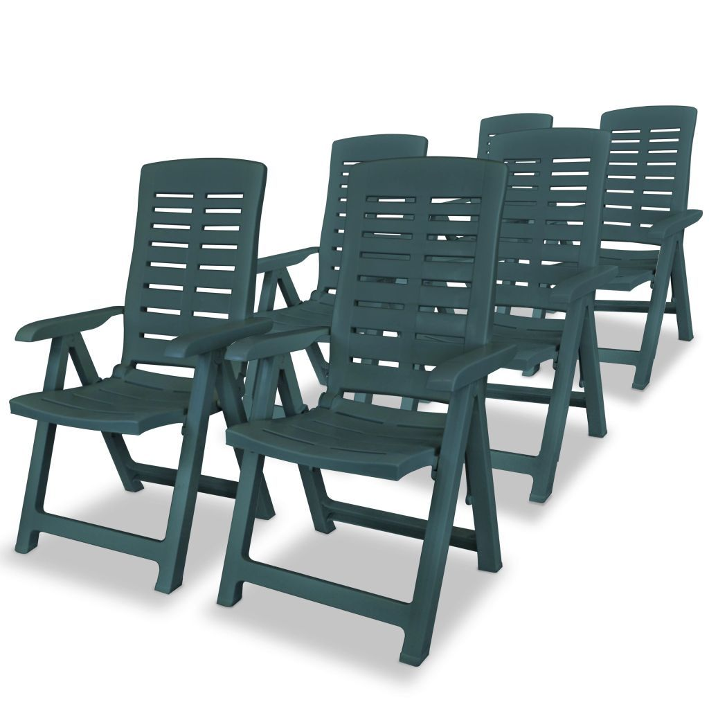 vidaXL 6x Reclining Garden Chairs Plastic Green Outdoor Chair Bistro Chair
