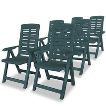 vidaXL 6x Reclining Garden Chairs Plastic Green Outdoor Chair Bistro Chair - $300.99