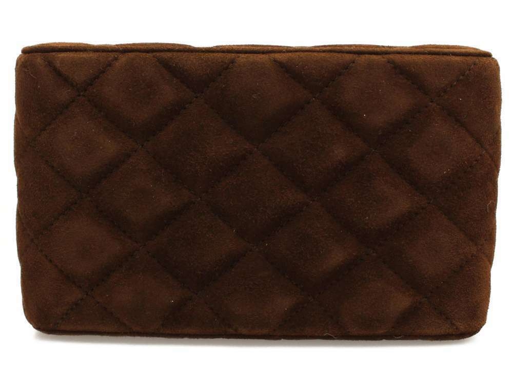 CHANEL Vanity Bag Suede Plastic Brown Cosmetic Pouch Italy Authentic 5509522