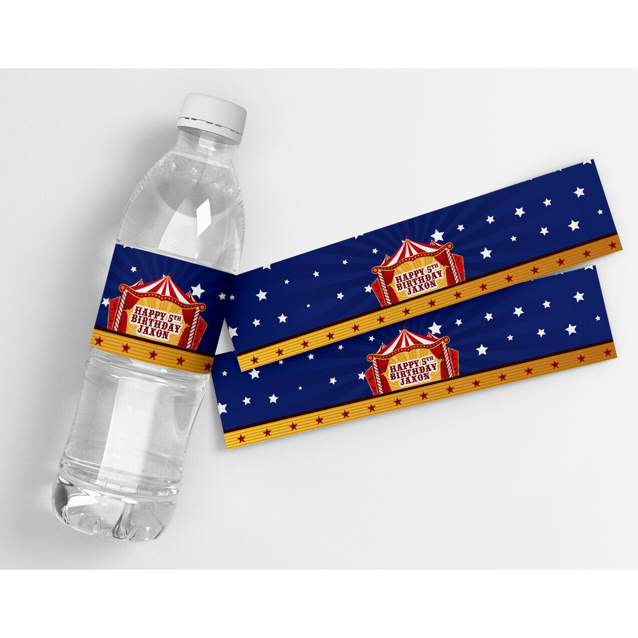 Circus Carnival Birthday Personalized Water Bottle Labels