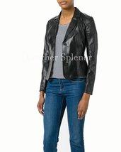 Unique Women Leather Blazer Jacket