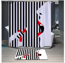 Sexy Woman 05 Shower Curtain Waterproof Polyester Fabric & Bath Mat For Bathroom image 1