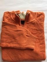 VTG Bill Blass Men Sweater Chunky Medium Orange Cotton Half Zip Long Sleeve - $22.25