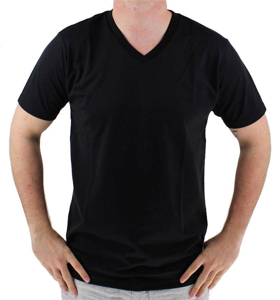 NEW GIOBERTI MENS PREMIUM CLASSIC ATHLETIC V NECK T-SHIRT TEE BLACK VN-9503