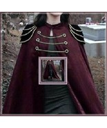 Renassiance Long Solid Burgundy Capped Shoulder Gothic Cape Vintage Cloa... - $119.95