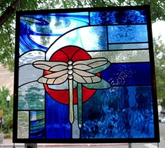 Stained Glass Window Panel dragonfly blue orange sun - $197.01
