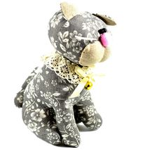 Delton Gray Floral Fabric Kitty Cat Jingle Bell Small Door Stopper Doorstop image 4