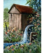 Original Oil Aceo Painting  Grist Mill Water wheel & flowers CONYERS ATC - $4.00