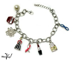 Souvenir Vintage Charm Bracelet - Lipstick, Snowflake, Perfume, Pearl - Hey Viv  - $18.00