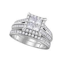 14k White Gold Princess Diamond Bridal Wedding Engagement Ring Set 1-1/2... - £1,978.53 GBP