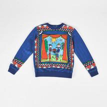 KIDS Dolce & Gabbana Blue Multi Cotton Printed LS Pullover Sweatshirt SZ... - $160.00