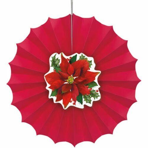 Holly Poinsettia 1 12 in Paper Decorative Fan