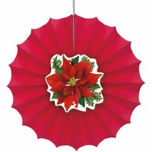 Holly Poinsettia 1 12 in Paper Decorative Fan - $4.39