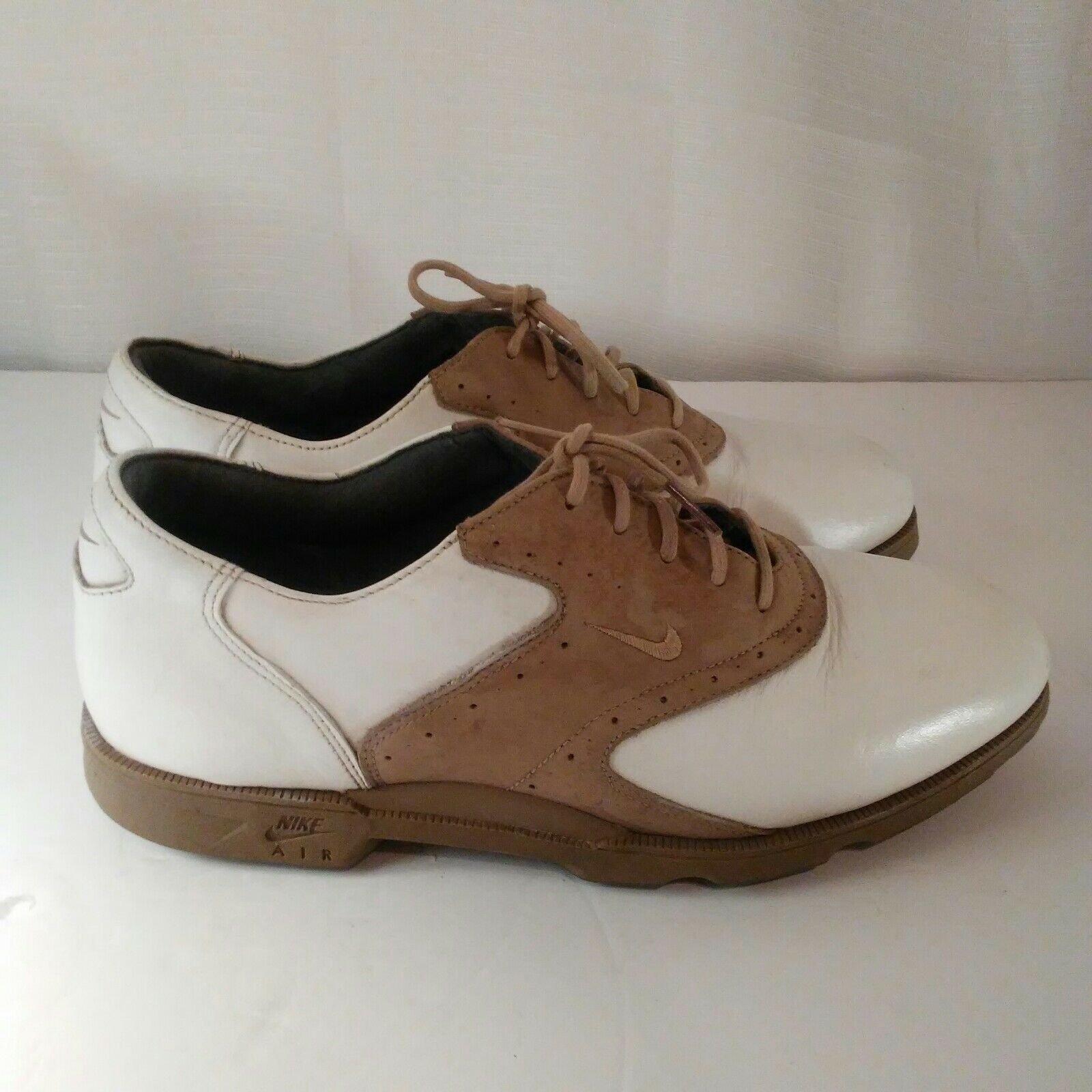 Nike Air Classic Plus White & Brown Saddle Golf Shoes Size 9