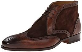 Handmade Men's Brown Leather and Suede Wing Tip Brogues Chukka Boots image 1