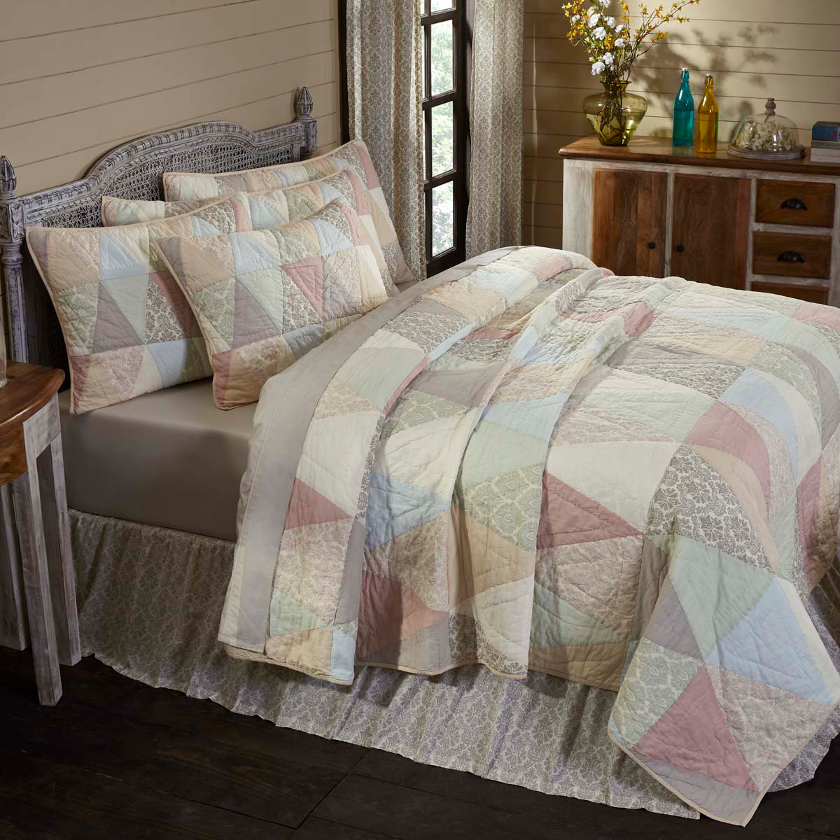 4-pc Ava King Quilt Set - Patchwork Shams & Bed Skirt - VHC Brands - Farmhouse