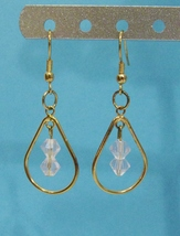 handmade pink crystal earrings - $9.00