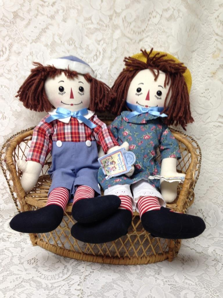 1995 Applause, 80th and 75th Anniversary of 1915 Raggedy Ann - 1920 Andy Dolls