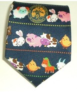 The American Academy Of Pediatrics Blue Silk Barnyard Pattern Necktie Ne... - $17.77