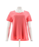 Denim & Co Short Slv Sweetheart Neckline Top Warm Coral S NEW A215870 - $18.79