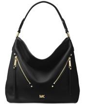 Nwt Michael Kors Evie Pebbled Leather Hobo Handbag Black - $164.47