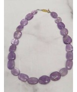 """Natural Purple Amethyst Stone Bead Necklace Polished 20"""" - $67.32"""
