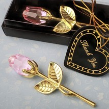 Fashioncraft Crystal Gold Long Stem Pink Roses - One Rose
