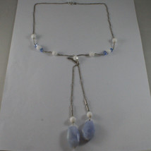 .925 SILVER RHODIUM NECKLACE WITH  BLUE AND WHITE AGATE AND BLUE CRISTALS image 2