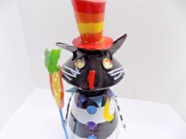 "METAL FOLK ART BLACK CAT IN A HAT 13"" TALL HALLOWEEN WHIMSICAL MARCHING ... - €10,00 EUR"