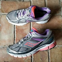 Saucony Guide 7 Women's 8 Running Comfort Athletic Shoes Gray Purple 102... - $27.67