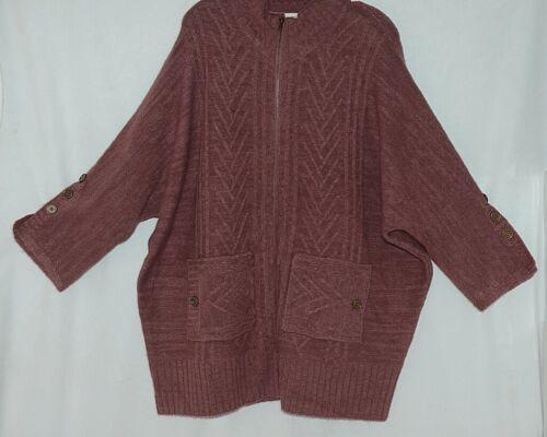 Simply Noelle Brand JCKT222Z Womens Mauve Zippered Sweater Jacket Size XXL