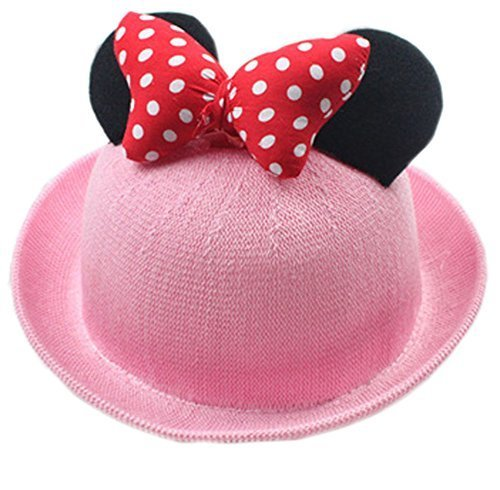 Summer Fashion Sun Hat For Kids With Bowknot Decor Pink
