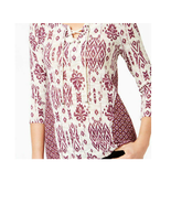 STYLE & CO White/Purple 3/4 Sleeve Lace-Up Printed Top NWT P/XL - $8.64