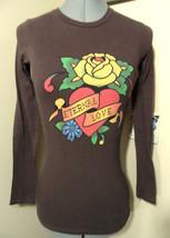 ED HARDY Audiger T-shirt Top XS Brown Rose Heart Tattoo long sleeve urba... - $14.84