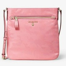 Michael Kors Nylon Kelsey Large Flat Crossbody Bag Swingpack Carnation P... - $31.49