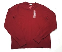 Merona Mens Long Sleeve Pullover Sweater V Neck Red Scarlet Mystery Small - $14.99