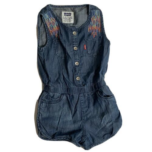 Levi's Girls Partial Button Denim Shorts Romper Pockets Embroidered Size XS 4 - $10.39