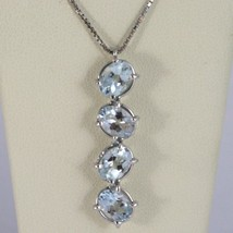 18K White Gold Necklace, Oval Cut 4 Aquamarine Pendant With Venetian Chain - $595.18