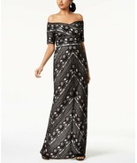 Adrianna Papell Black Off-the-Shoulder Sweetheart Neckline Lace Gown NWT 2 - $86.39