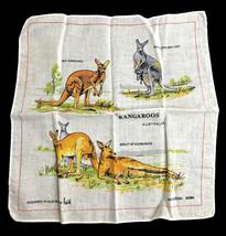 Vintage Kangaroos Australia Handkerchief Kangaroo Designed By NEIL  - $16.44
