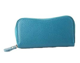 Multifunctional Key Bag Printing High Capacity Bending Zipper Key Case, Blue