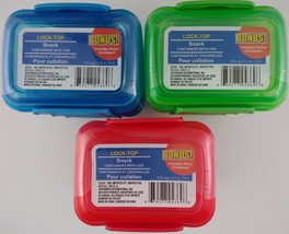 LOCK-TOP REUSABLE SNACK CONTAINERS W LID Stackable 5.2 Oz 3/Pk SELECT NE... - €2,59 EUR