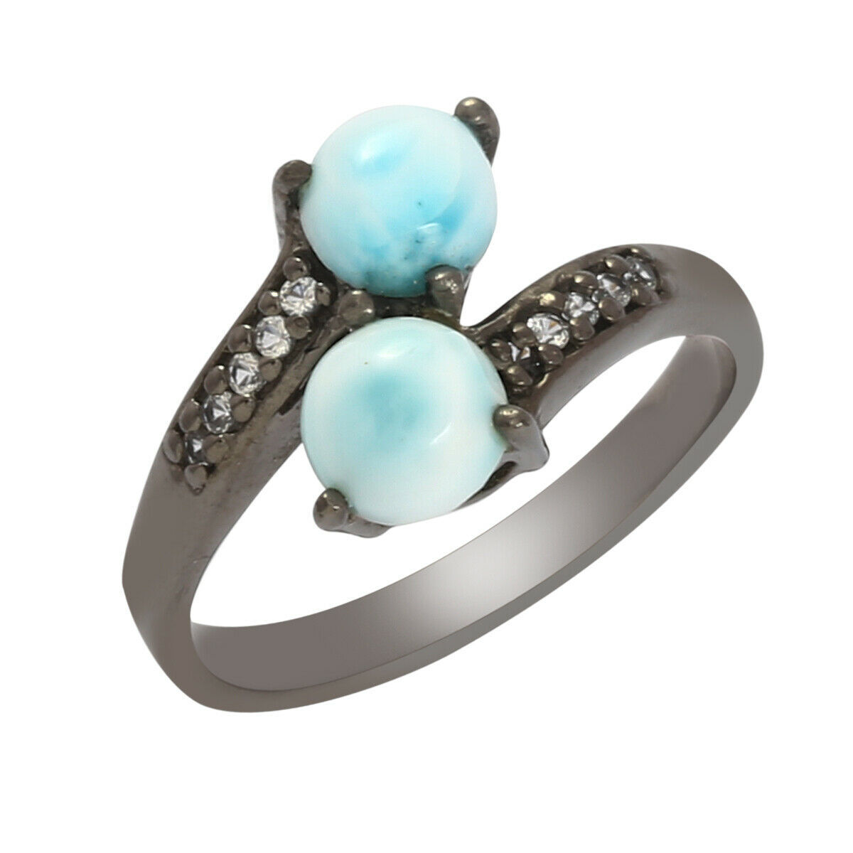 Primary image for Bypass Shank 925 Fine Silver 1.78 Ct Larimar Gemstone Black Plated Women Ring