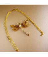 rhinestone Dragonfly brooch / butterfly pendant necklace / enamel art no... - $95.00