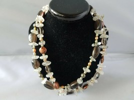 BC Signed Fashion Necklace + Bonus Raw Stone Crystal Bead Necklace & Ear... - $27.89