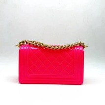 NEW AUTHENTIC CHANEL BRIGHT NEON PINK PATENT LEATHER SMALL BOY FLAP BAG GHW image 6