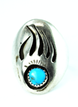 Antique Cast Sterling Bear Claw Turquoise Shadow Box Ring 28mm Size 11 S... - $47.51