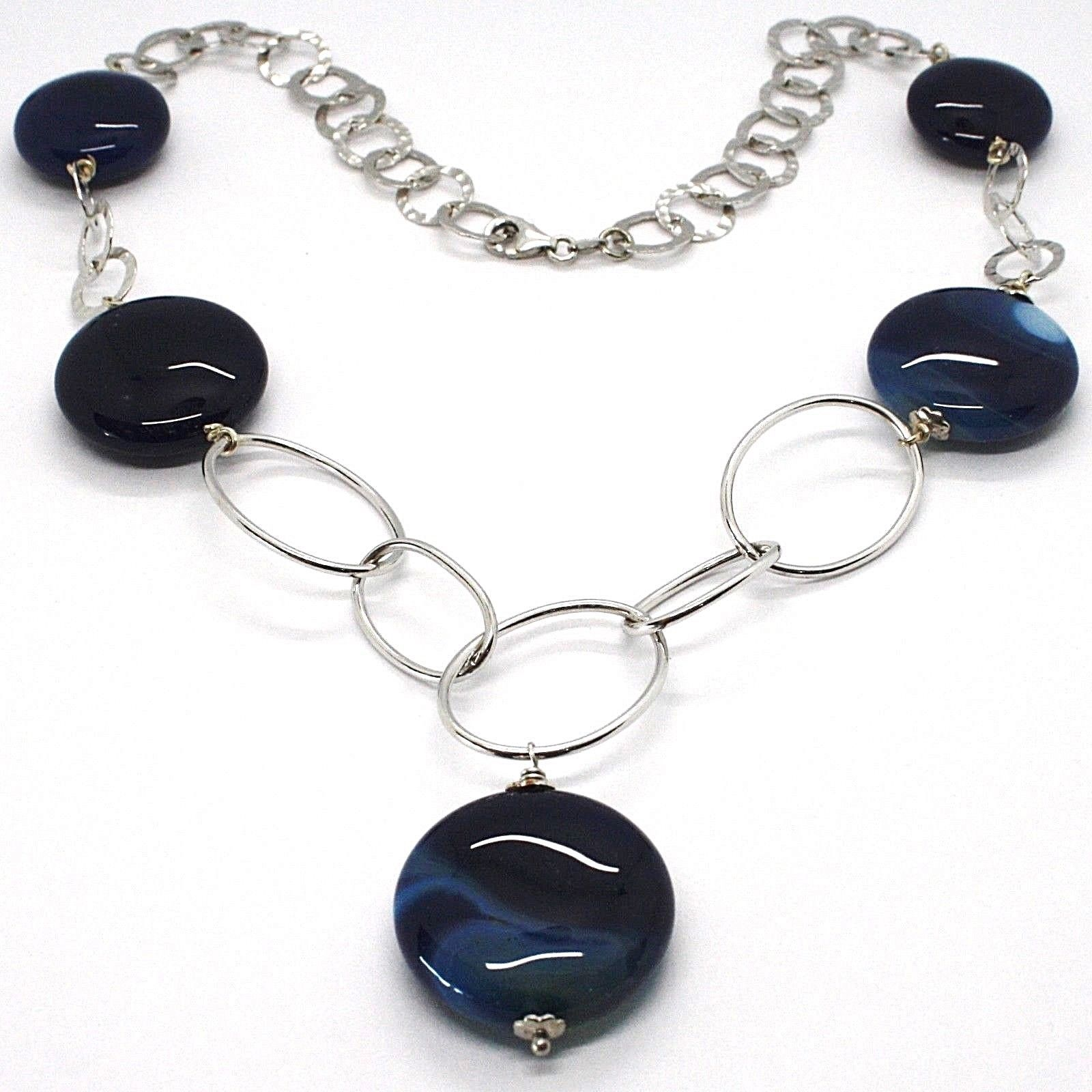 925 Silver Necklace, Agate Blue Striated, Disk, Pendant, Length 50 cm