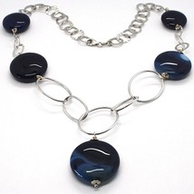 925 Silver Necklace, Agate Blue Striated, Disk, Pendant, Length 50 cm image 1